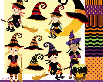 Cute Little Witches Clipart Set