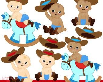 Cowboy Babies2 Clipart Set