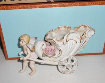 Porcelain bisque cherub winged angel chariot planter vintage decor Made in Japan ARCO