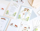 Fox and Deer Woodland illustrated wedding stationery // custom invitation, map and RSVP