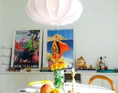 Lampshade, Pendant lamp made in retro style, creamy white cotton
