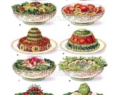 Mrs Beeton's Salad Dish Display c 1907 Display Aged Vintage Cookbook Printable Image Download Illustrated Cookbook Page