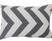 Grey Outdoor Antibes Chevron Lumbar Pillow Cover