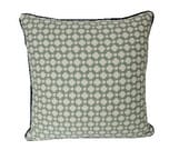 Light Blue Betwixt Schumacher Pillow Cover with Navy Blue Welting