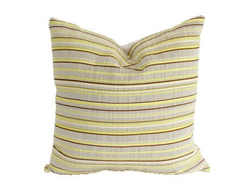 Chartreuse, Chocolate Brown and Stone Grey Striped Pillow Cover