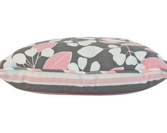 Decorative Pink and Grey Pillow Cover with Piping