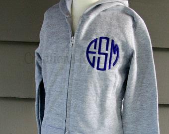 Children's Monogrammed Hooded Sweatshirt, Monogrammed Zip Front Sweatshirt, Girls Monogram Sweatshirt Full Zip