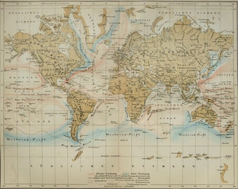 1895 Antique world map of OCEAN CURRENTS. Meteorology. Physics. 121 years old chart