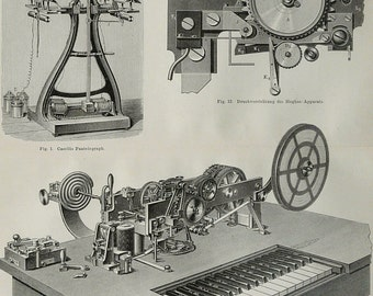 1897 Antique print of ELECTRIC TELEGRAPH. TELEGRAPHY, different types. 119 years old engraving.