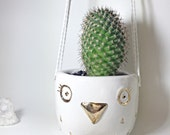 Hanging Owl Planter White and Gold Pot Porcelain Pottery Ceramic Cutest Container Perfect Gift MADE TO ORDER