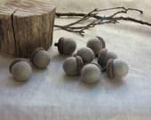 Wool Felt Acorns - Grey