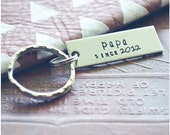 Dad Gift - Papa Since Key Chain - Custom Hand Stamped Papa Keychain - Personalized Key Ring - Aluminum