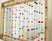 Pom pom Garland, Pom pom Mobile,Pompom garland, Birthday Garland,Party Garland, Wall Hanging, Rainbow Pompom - Handmade Pompoms 5 foot