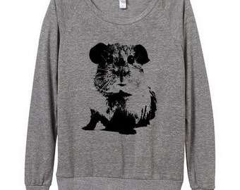 Guinea Pig Womens Long sleeve Pullover shirt silkscreen