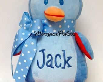 Jack - ALREADY PERSONALIZED - Plush Blue Penguin Soft Toy