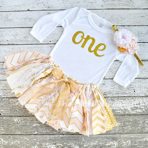 Pink gold 1st birthday outfit first birthday dress shabby chic - Shabby chic outfit ideas ...