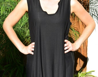 Black Bamboo Leggings Jumper - Tunic - Tank Dress - Beach Cover Up