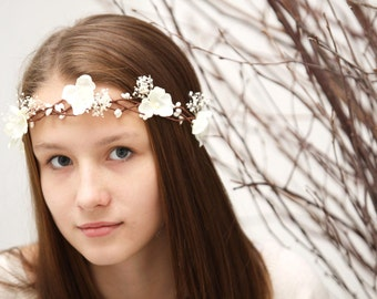 Wedding flower crown, Babys breath flower crown, ivory flower crown, Flower girl headpiece, Wedding hair accessories