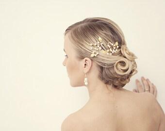 Gold Leaf Bobby Pins, Bridal Hair Pins,Bridal Hair Clips, Rustic Woodland Wedding, Bridal Hair Accessories Grecian Hair Accessories
