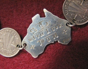 Reduced -- Vintage WWII SWEETHEART COIN Bracelet with Engraved Center Plaque -- Australian 1943 Pence Coins, all Sterling Silver