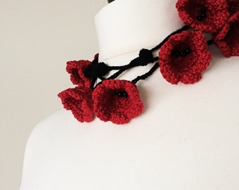 Red Poppies Scarf, Valentine's Day's Gift, Red Black Flowers Crochet Necklace, Lariat, Beadwork, Crochet, ReddApple, Fast Delivery