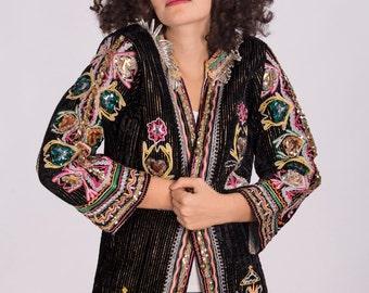 Vintage Hippie Velvet Jacket with Colorful Embellishment,Ethnic clothing,Hippie jacket,Boho jacket,Sequin jacket,Gypsy jacket,Vintage coat