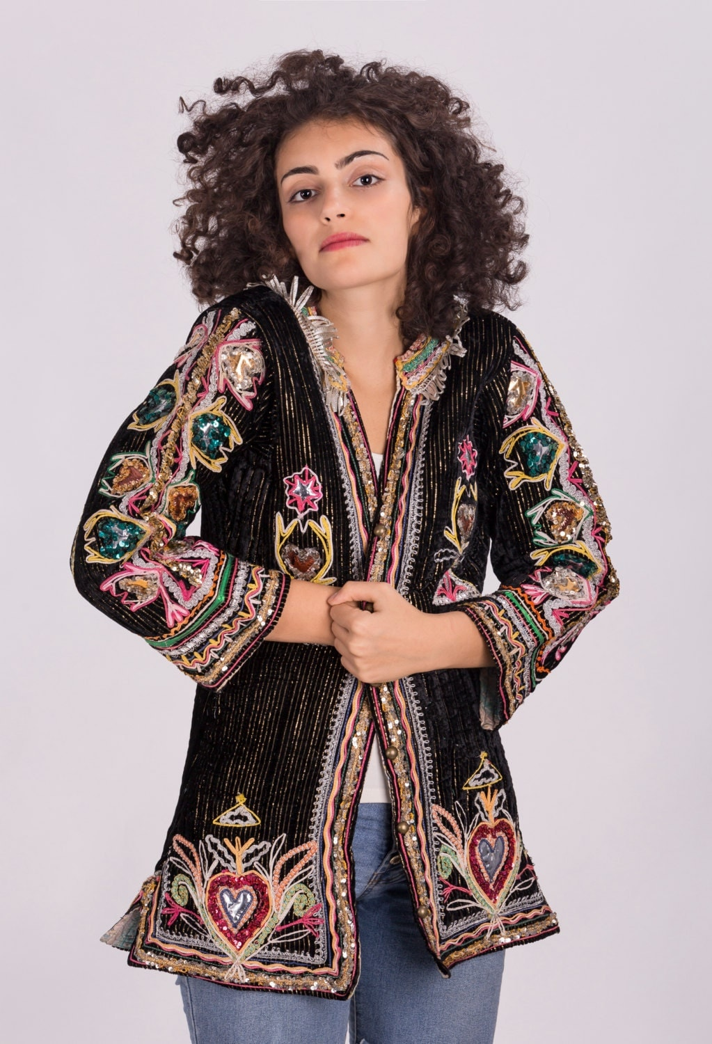 vintage hippie velvet jacket with colorful