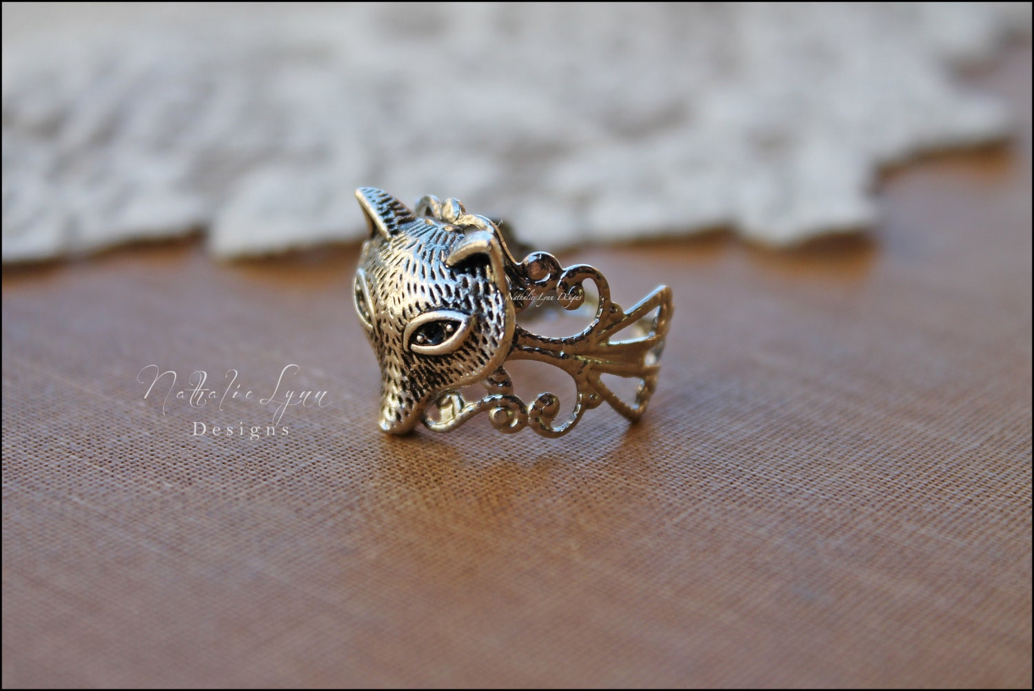 fox ring fox jewelry adjustable ring vintage inspired ring