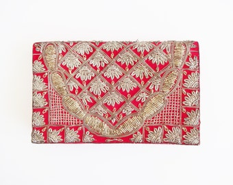 Vintage 1930s Zardozi / Zardosi Indian Clutch Purse in Red Velvet with Silver Embroidery