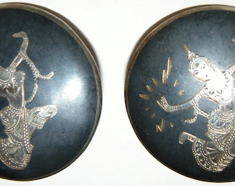 Siam Mekalla Earrings Goddess of Lightening Earrings Vintage Siam Silver Sterling Silver NIELLO Earrings Large Round Clip Ons