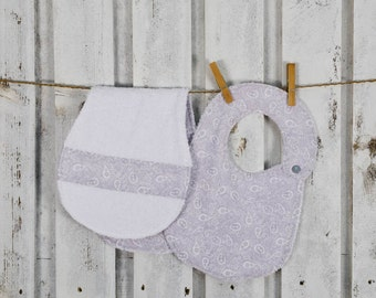 grey bib and burp cloth set for babies,matching mommy's shoulder towel