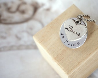Hand Stamped Disk Necklace - French I love You - Je' T Aime - Heart Love