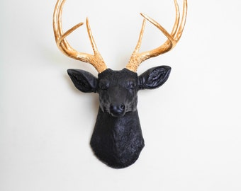 Faux Deer Head - The Alexandr - Black w/Gold Antlers Resin Deer Head- Stag Resin White Faux Taxidermy- Chic & Trendy