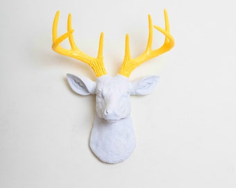 Faux Taxidermy - The MINI Baron - White W/ Yellow Antlers Resin Deer Head- Stag Resin White Faux Taxidermy