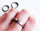 2.5 mm Sapphire Flush Set in Sterling Silver Ring
