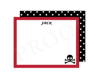 Pirate Note Cards (Pirate Thank You, Flat Note Card, Pirate Thank You Card, Pirate Baby Shower Thank You, Pirate Notecard)