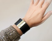 Leather bracelet, Black full grain leather cuff with silver hardware , ALL SIZES