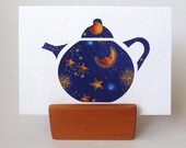 """TEAPOT Card Moon Stars Fabric 6"""" x 4"""" with envelope. Blank for any occasion. Celestial Purple card. Gold accents"""