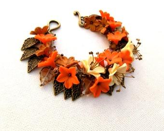 Flower Bracelet, Charm Bracelet, Flower Jewelry, Handmade Bracelet, Gift For Her, Statement Bracelet, Orange Bracelet, Floral Fashion