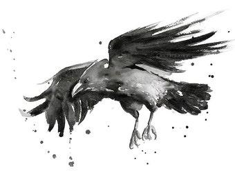 Flying Raven Watercolor Art Print, Raven Art, Raven Decor, Raven Painting, Black Bird Painting, Watercolor Raven, Raven Print, Dark Portrait