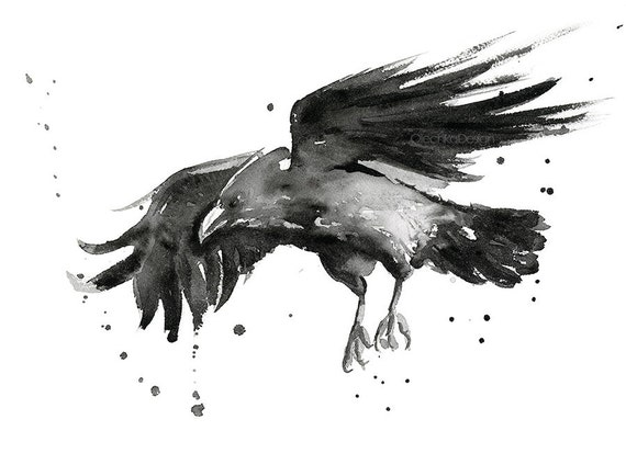 Watercolor Bird Flying Flying Raven Watercolor Art