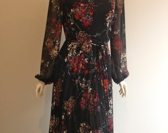 70s Floral splash dress with pleated skirt size 12