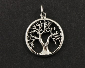 Sterling Silver, Tree Of Life Charm / Pendant with Open Jump Ring,  Sweet Component Finding, 1 Piece, (SS/CH4/CR94)