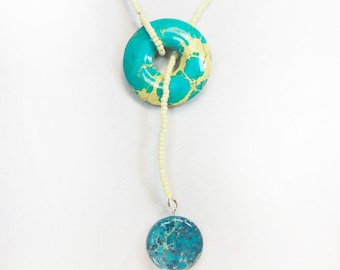 Blue Impression and Seed Bead Lariat