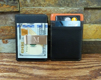 Personalized Monogram Money Clip and Card Holder -Leather-  Wallet-  Gifts for Men - Christmas Gift - Groomsmen