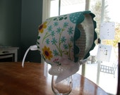 Made to order Infant and Toddler Easter bonnet with rickrack ruffle, peek-a-boo back and grosgrain or satin ribbon ties