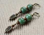 Sage Green Long Drop Earrings Ceramic Bronze Leaf Free Shipping Dangle Beads Boho Chic Lever Back Fashion Bohemian Jewelry Paisley Beading