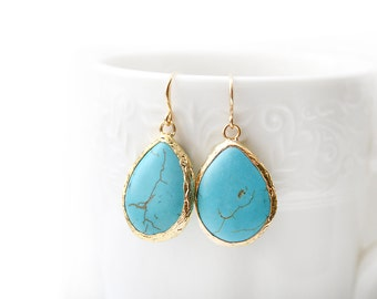 Polished Gold Plated Framed Drop Turquoise Earrings