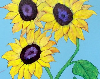 "Sunflower Art - ""Sunflowers and a Blue Sky"" - Painting by Lorraine Skala"