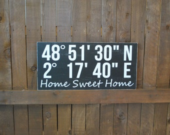 PERSONALIZED new Home Housewarming Gift, HOME sweet HOME, Latitude Longitude, custom gift, Wedding Gift, Anniversary gift, Home Decor Sign